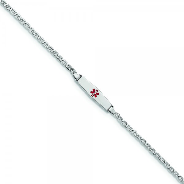 14k White Gold Medical Soft Diamond Shape Enamel Semi-Solid Anchor Link ID Bracelet