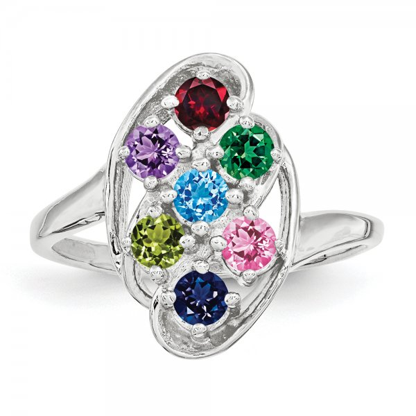 Sterling Silver Rhodium-plated Family Jewelry Fancy 7-Stone Ring