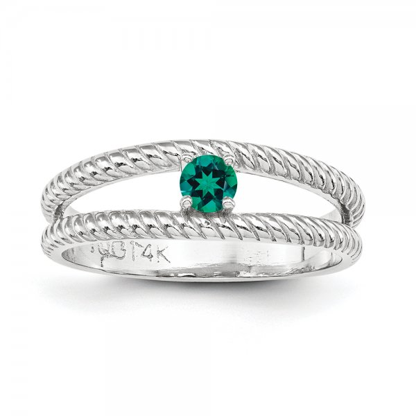 Sterling Silver Rhodium-plated Braided Family Jewelry 1-Stone Ring