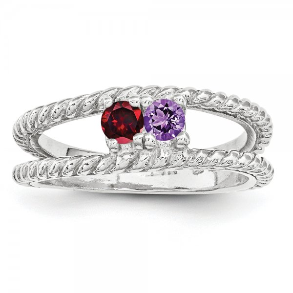 Sterling Silver Rhodium-plated Family Jewelry Two-Stone Braided Ring