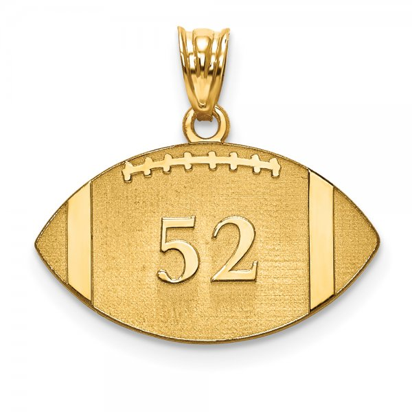 14k Yellow Gold Laser Football Number And Name Pendant