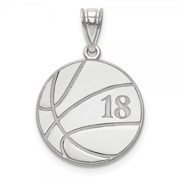 14k White Gold Laser Basketball Number And Name Pendant