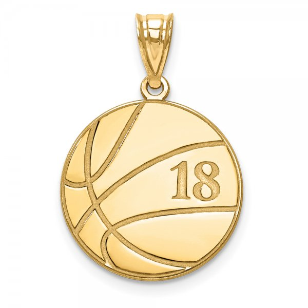 14k Yellow Gold Laser Basketball Number And Name Pendant