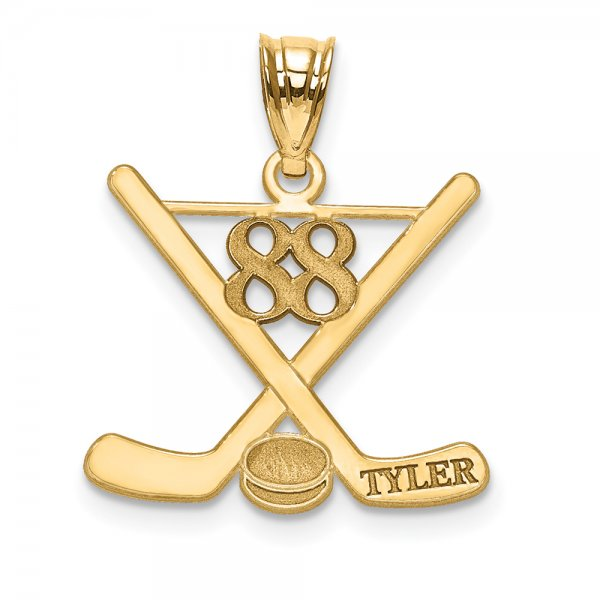 14k Yellow Gold Laser Polished Name And Number Hockey Pendant