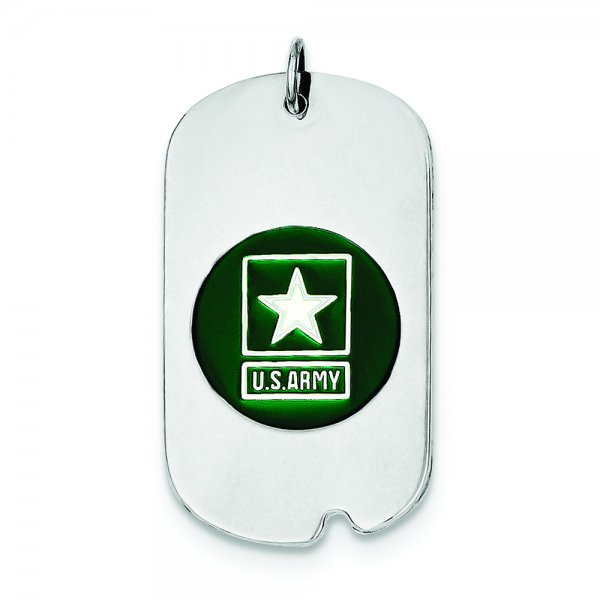 Sterling Silver Rhod-plated US Army Star Dog Tag