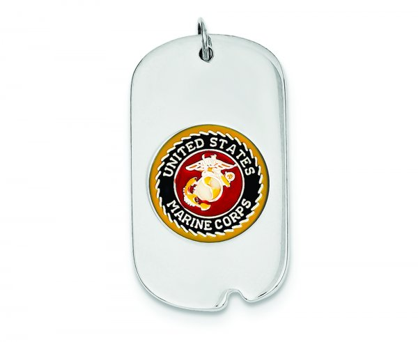 Sterling Silver Rhod-plated Marine Dogtag