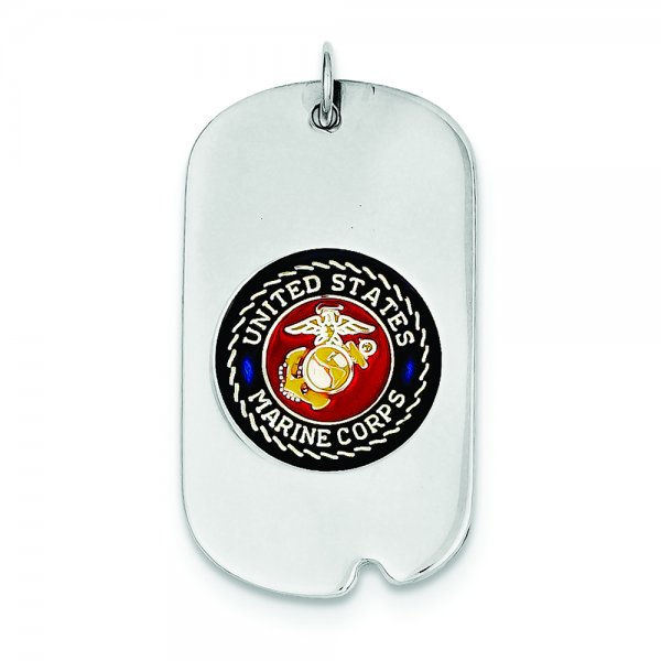 Sterling Silver Rhod-plated US Marine Corp Dog Tag