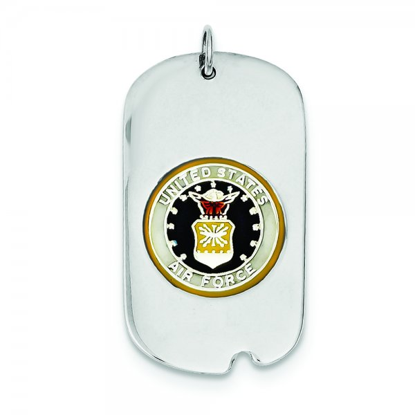 Sterling Silver Rhod-plated US Air Force Dog Tag