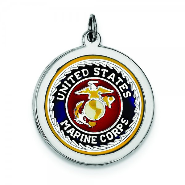 Sterling Silver Rhod-plated US Marine Corps Disc