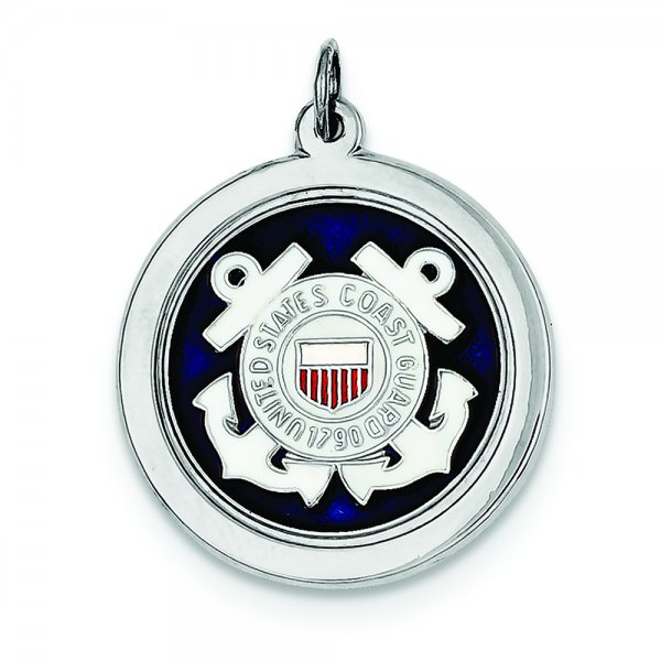 Sterling Silver Rhod-plated US Coast Guard Disc
