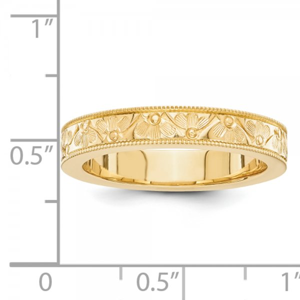 14k Yellow Gold Fancy Floral wedding band