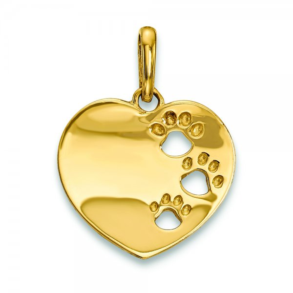 14k Yellow Gold Childrens Heart with Pawprints Pendant