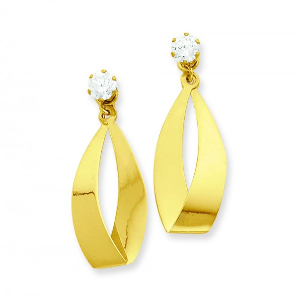 14k Yellow Gold Polished Oval Dangle with CZ Stud Earring Jackets