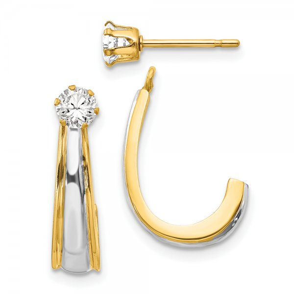 14k Yellow Gold & Rhodium J-Hoop with CZ Stud Earring Jackets