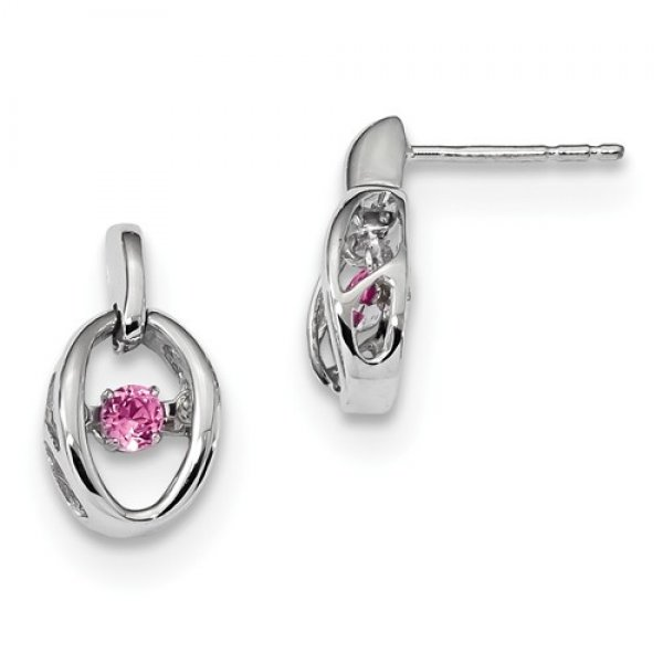 Sterling Silver Rhodium Crted Pink Tourmaline Birthstone Vibrant Earrings