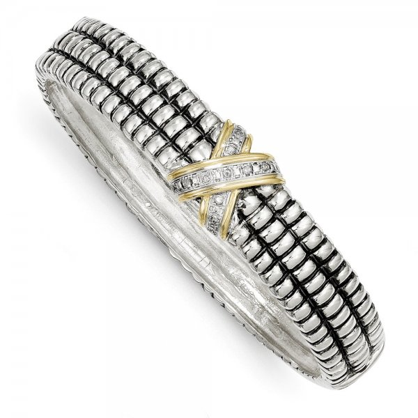 Sterling Silver & 14k Yellow Gold  1/15ct. Diamond Bangle Bracelet