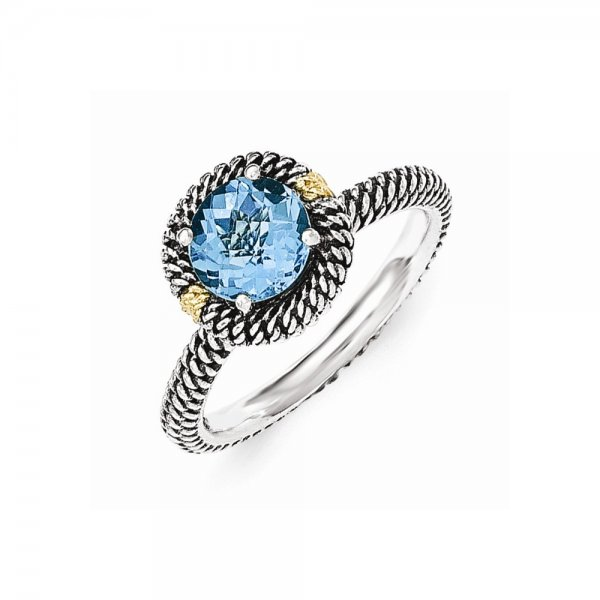 Sterling Silver & 14k Yellow Gold  Round Blue Topaz Ring