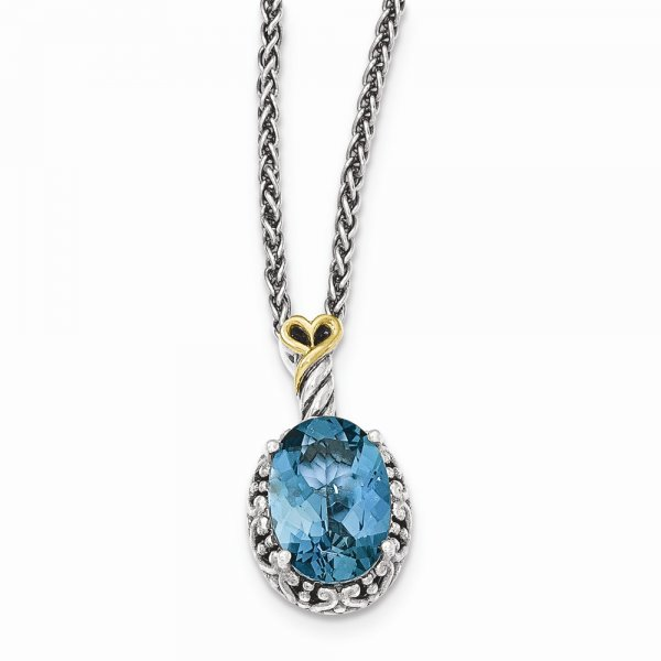 Sterling Silver & 14k Yellow Gold  London Blue Topaz Oval Necklace