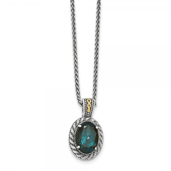 Sterling Silver & 14k Yellow Gold  London Blue Topaz Hinged Bail Necklace