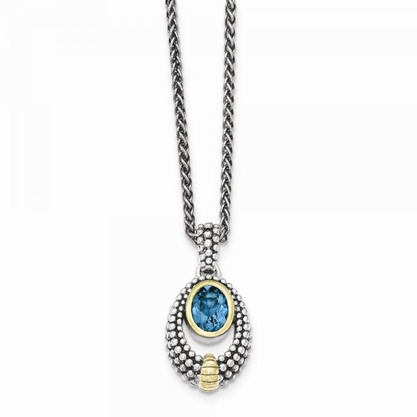 Sterling Silver  & Gold-tone Flash Gold-plated London Blue Topaz Necklace