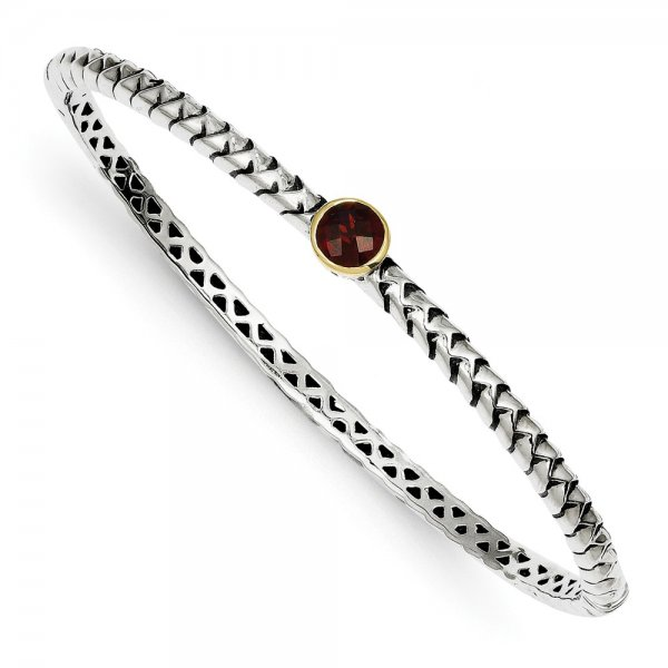 Sterling Silver & 14k Yellow Gold  Garnet Bangle Bracelet