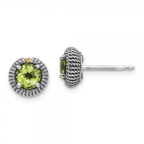 Sterling Silver & 14k Yellow Gold Peridot Post Earrings