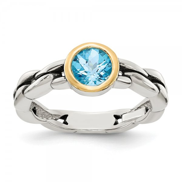 Sterling Silver & 14k Yellow Gold Sky Blue Topaz Ring