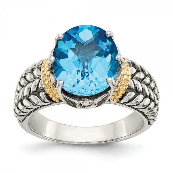 Sterling Silver & 14k Yellow Gold Swiss Blue Topaz Ring