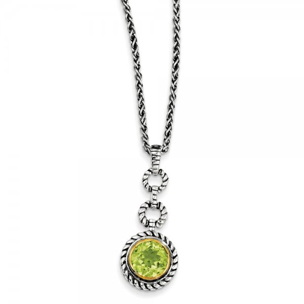 Sterling Silver & Gold-tone Flash Gold-plated Peridot Necklace