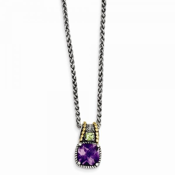 Sterling Silver & 14k Yellow Gold Amethyst & Peridot Necklace