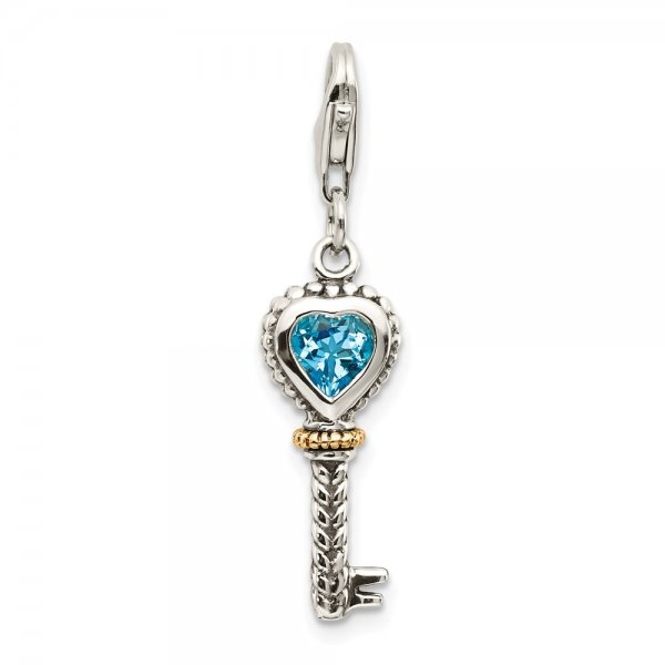 Sterling Silver & 14k Yellow Gold Blue Topaz Antique Key & Lobster Clasp Charm