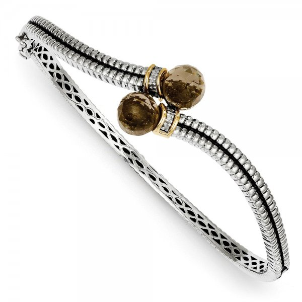 Sterling Silver & 14k Yellow Gold Smoky Quartz & Diamond Bangle Bracelet
