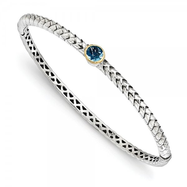 Sterling Silver & 14k Yellow Gold Blue Topaz Bangle Bracelet