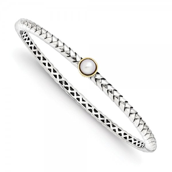 Sterling Silver & FW Cultured Pearl Bangle Bracelet